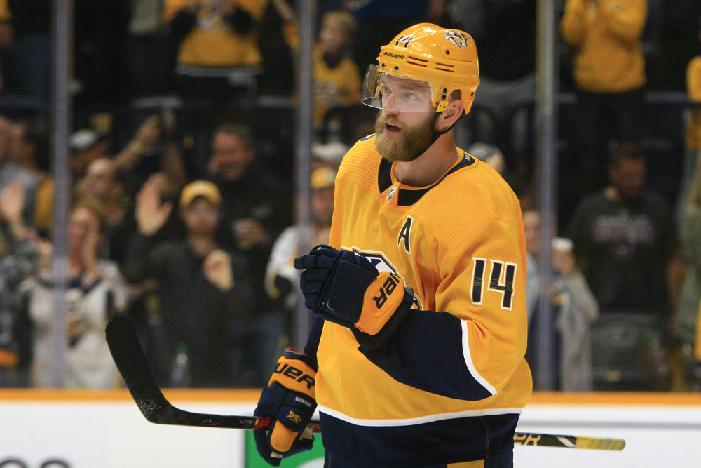 NASHVILLE, TN - OCTOBER 10: Nashville Predators defenseman Mattias Ekholm (14) is shown at the conclusion of the NHL game between the Nashville Predators and Washington Capitals, held on October 10, 2019, at Bridgestone Arena in Nashville, Tennessee. (Photo by Danny Murphy/Icon Sportswire)