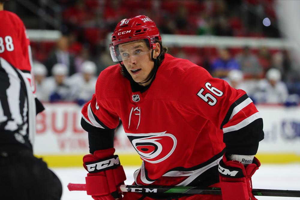 RALEIGH, NC - SEPTEMBER 18: Carolina Hurricanes left wing Erik Haula (56) during the 1st period of the Carolina Hurricanes game versus the Tampa Bay Lightning on September 18th, 2019 at PNC Arena in Raleigh, NC. (Photo by Jaylynn Nash/Icon Sportswire)