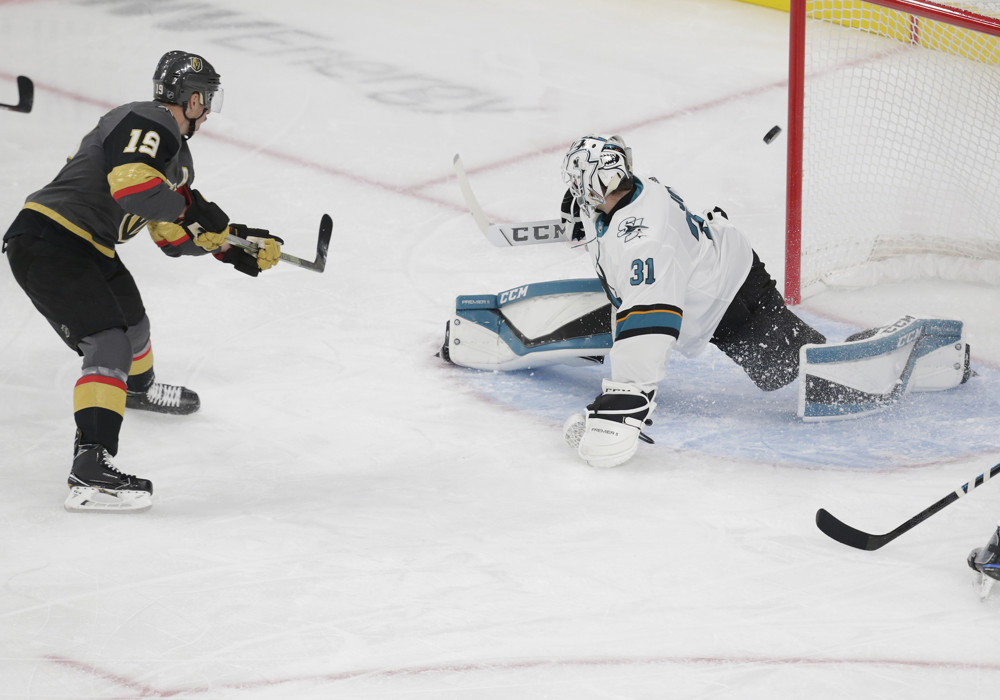 LAS VEGAS, NV - OCTOBER 02: Vegas Golden Knights right wing Reilly Smith (19) shoots and scores a goal against San Jose Sharks goaltender Martin Jones (31) during a regular season game Wednesday, Oct. 2, 2019, at T-Mobile Arena in Las Vegas, Nevada. (Photo by: Marc Sanchez/Icon Sportswire)